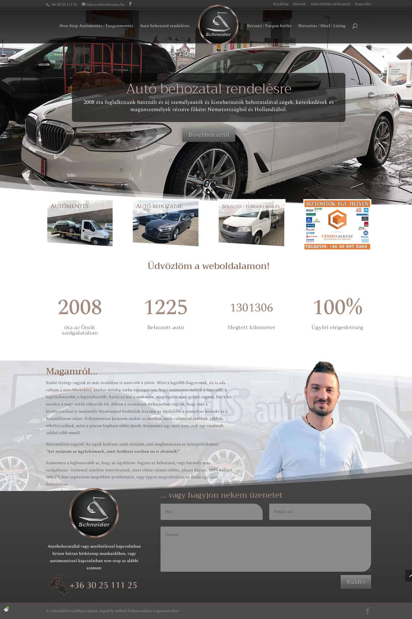 Schneider autó - weboldal készítés